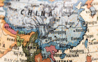 Globe zoomed into China