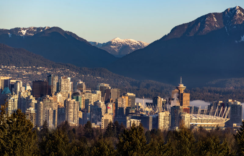 Downtown Vancouver financial district panoramic view at morning