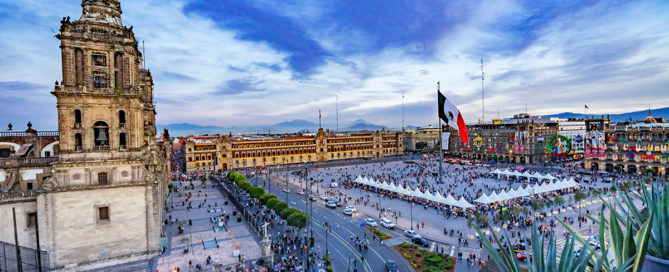 Metropolitan Cathedral and President's Palace Evening Zocalo Center Mexican Flag Mexico City Mexico