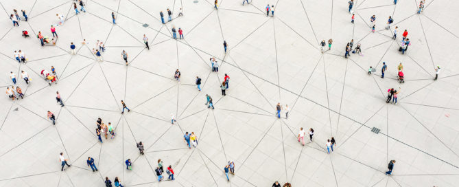 High angle view of people walking on the street