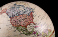 Globe image of United States and part of South America