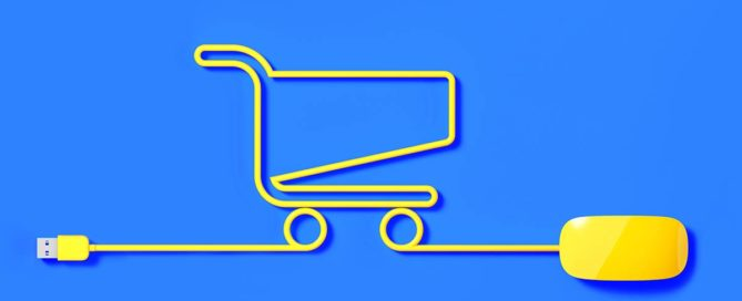 Shopping cart icon with a computer mouse going through it