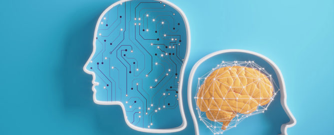 Two human brain illustrations, one with artifical intelligence and another with a human brain on a blue background